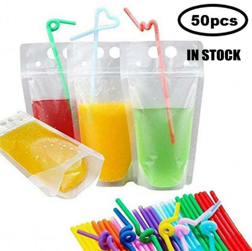 1000pcs Clear Drink Pouches Bag With Straw Reclosable Zipper Heavy Duty Hand-held Translucent Stand-up Plastic Pouches Bags Drinking Bags