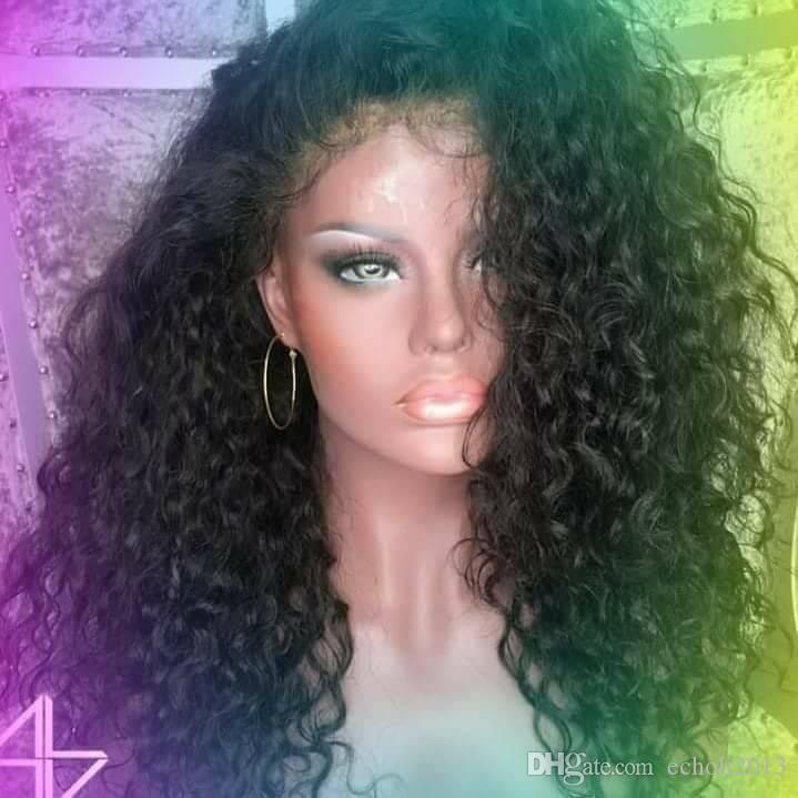 Полный? Lace? Перуанский кудрявые парики волос? 180% 8A плотность? 360 Lace? Front человеческих волос? Парики бесклеевой Полный? Lace? Парики 14inch свободный корабль нас мода женщин