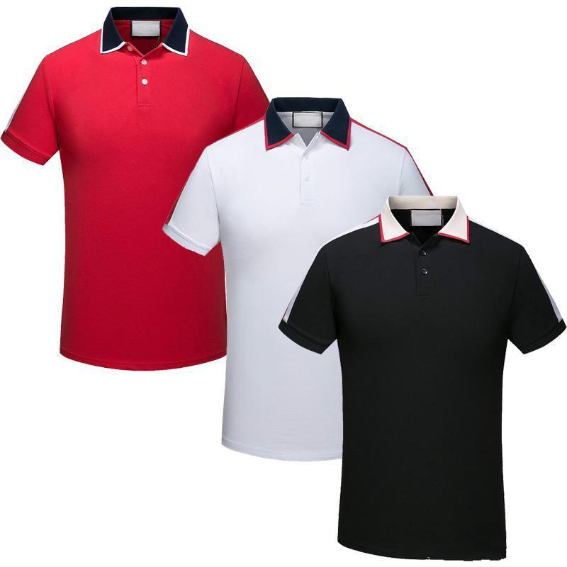 Nouveau mode d'été marque nouveaux hommes polo t-shirts serpent abeille broderie florale mens polos rayure designer de luxe impression polo T-shirt
