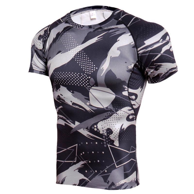 2020 novo em torno do pescoço T-shirt camuflagem dos homens de manga curta camisa de esportes T-shirt respirável treinamento camuflagem de acampamento