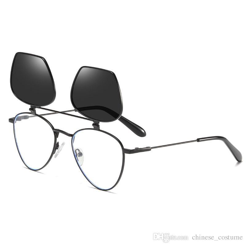 Women's Retro Men's And Women's Flip Sunglasses Round Metal Frame Glasses Flip Lens Top Quality Flip Clear Lens Pun Sunglasses Send Box