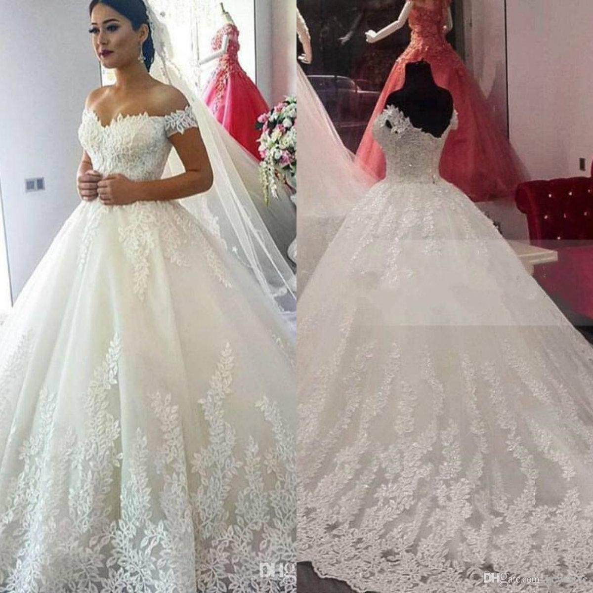Großhandel 20 Ballkleid Brautkleider Plus Size Lace Off Shoulder  Brautkleider Benutzerdefinierte Spitze Appliques Sweep Zug Bohemian Wedding  Dress