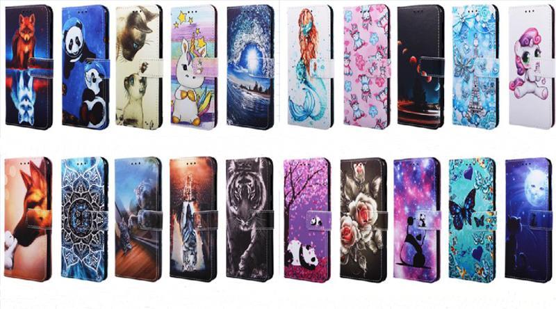 Mariposa de dibujos animados de Sun Moon Rose Panda tigre tirón de la carpeta de cuero del caso para el iphone 11 pro max 6 7 8 + X XS MAX XR Samsung S20 S10 Plus Ultra