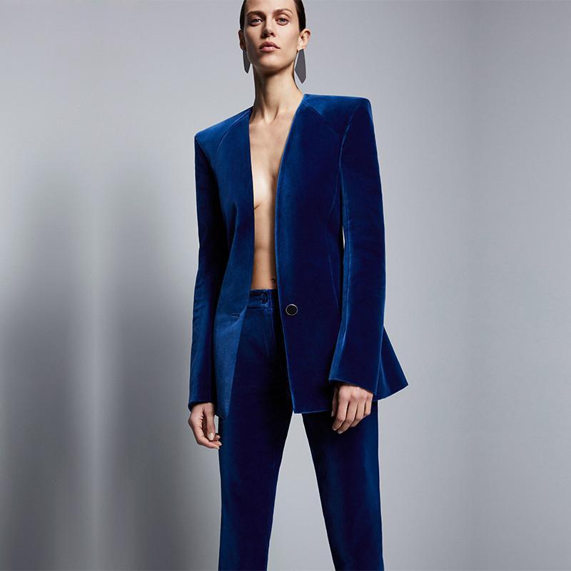 Fashion Royal Blue Velvet Frauen formale Geschäfts-Hose-Klagen Frauen Slim Fit Büro-Damen-Smoking Uniform Anzüge Kostüm Femme