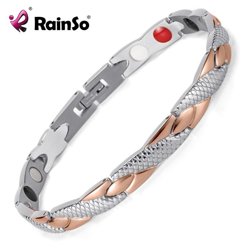Rainso Pulseras magnéticas de acero inoxidable Brazaletes de curación Bio pulseras del encanto para las mujeres Oro rosa pulido Osb-692srgfir SH190727