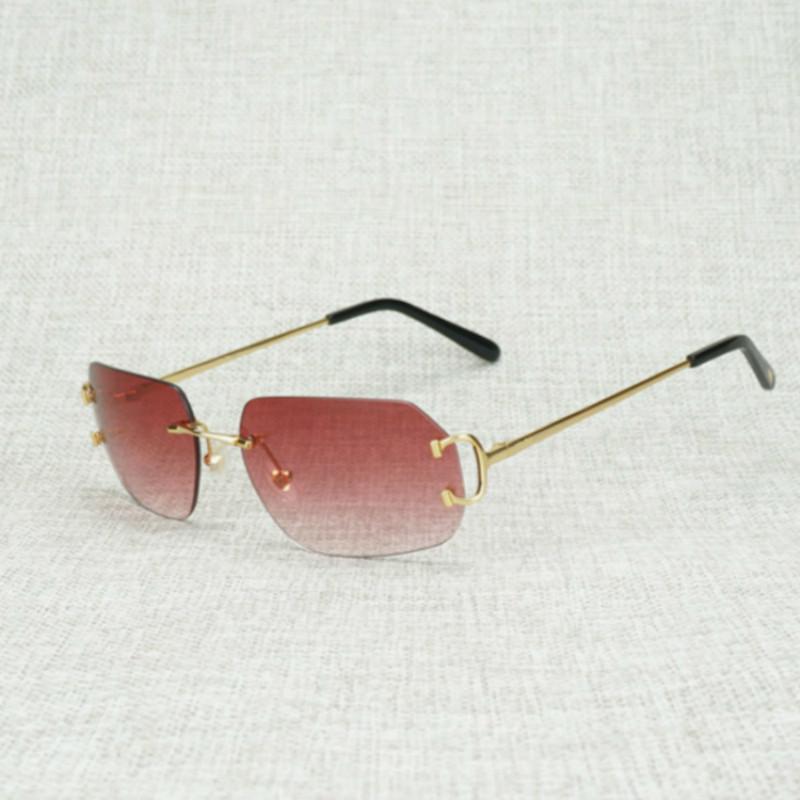 Açık Kulübü Aksesuarları óculos Gözlükleri için Vintage Yeni Mercek Şekli Metal Farme Güneş gözlüğü Erkekler Rimless C Tel Kare Gafas Kadınlar