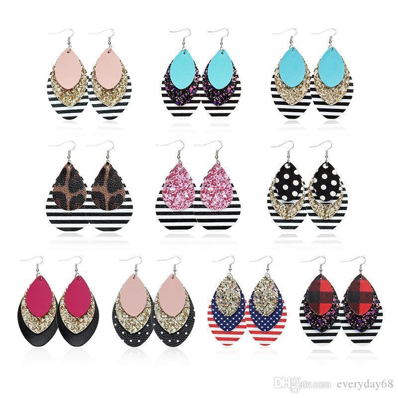 Leder-Ohrringe für Frauen-Blatt-Tropfen baumeln rote karierte Leopardenmuster Ohrringe Leichte Layered Teardrop-Ohrringe arbeiten Weihnachtsgeschenk