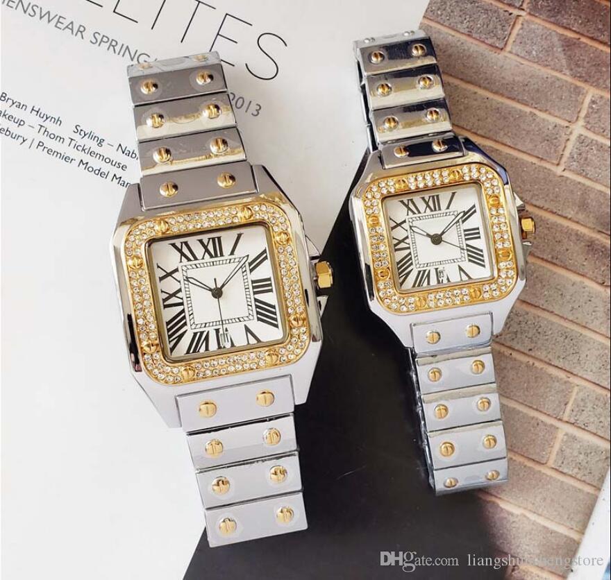 Quadrat voll diamanten stahl quarzuhr für mann frau japan bewegung uhren diamant armbanduhren leben wasserdicht marke männliche uhr hot items
