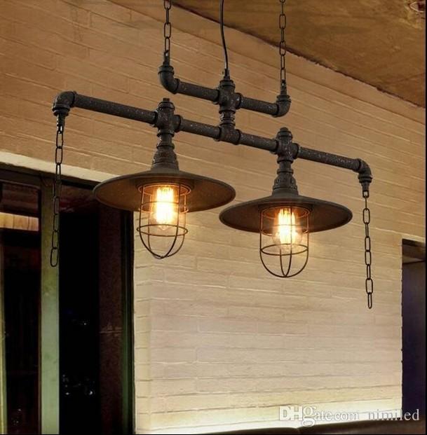 펜던트 조명 크리 에이 티브 물 파이프 샹들리에 램프 개인화 된 미국 유럽 산업 빈티지 샹들리에 헝겊 스토어 카페 클럽 바