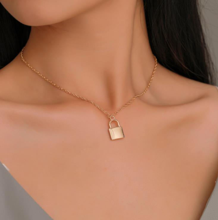 Acciaio inossidabile d'argento di colore lucchetto pendente Catena Coppia Collana di blocco gioielli regalo per Uomo Donna