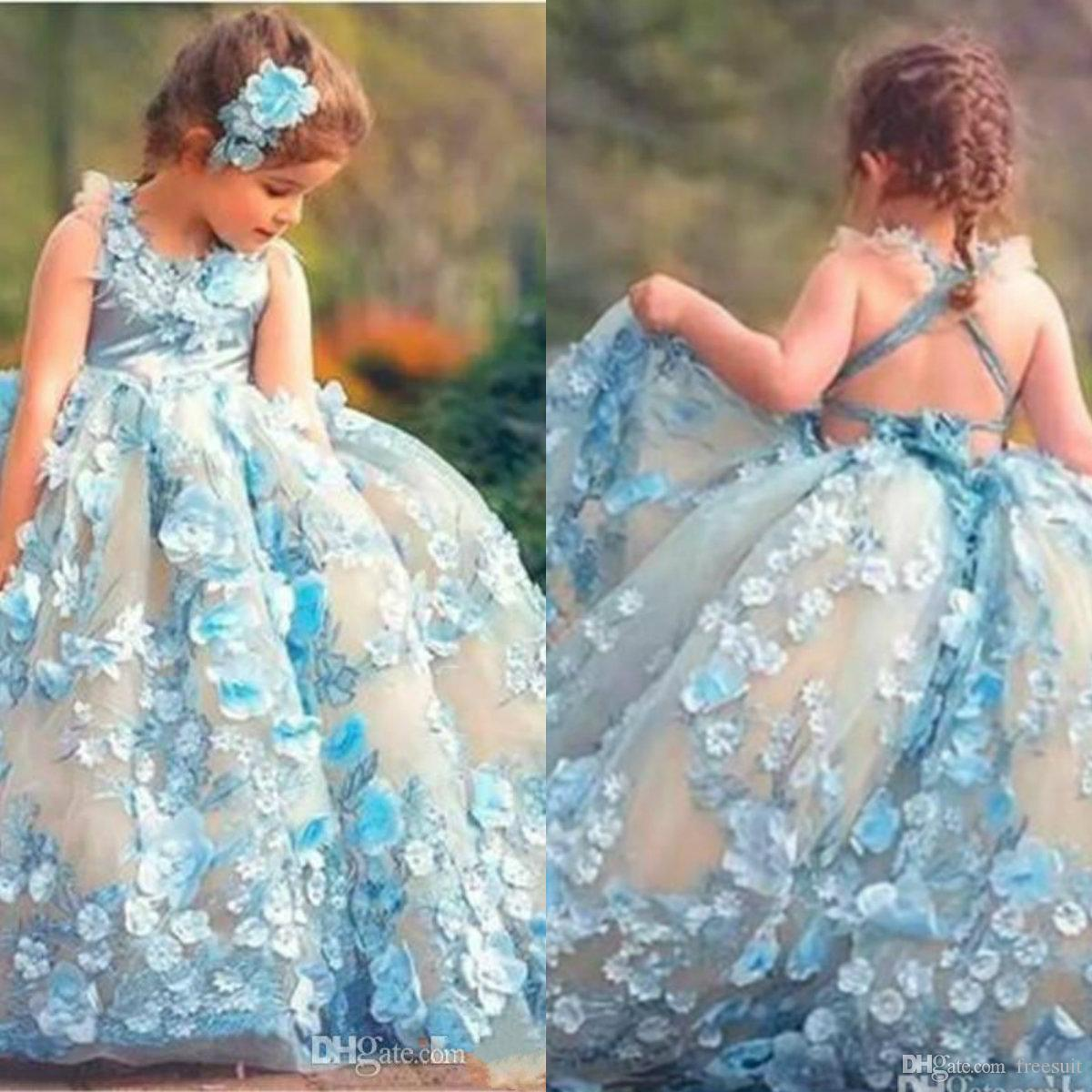 2020 Ball Gown Flower Girl Dresses 3D Floral Appliqued Floor Length Lace Girl Pageant Gowns Custom Made First Communion Gown