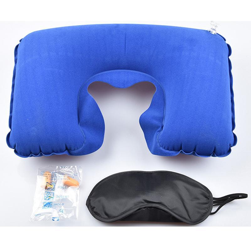 الجملة السيارات وسادة لينة 3 في شكل U-1 طقم سفر للنفخ وسادة الرقبة وسادة الهواء + النوم قناع العين اييشادي + سدادات DBC DH0660