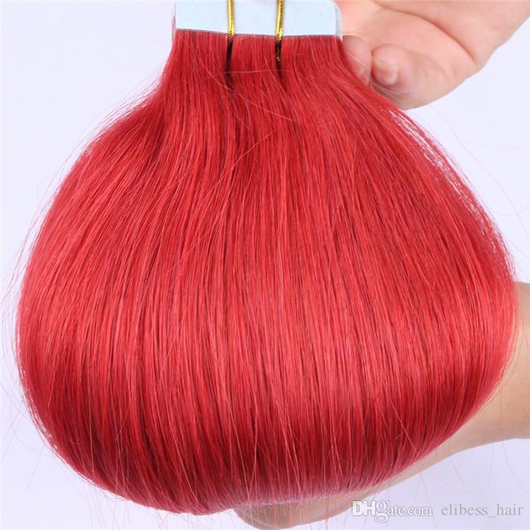 Gerade Welle Band in Haarverlängerungen 80pcs Red Remy Haut Schuss Haar-Verlängerungen 200g