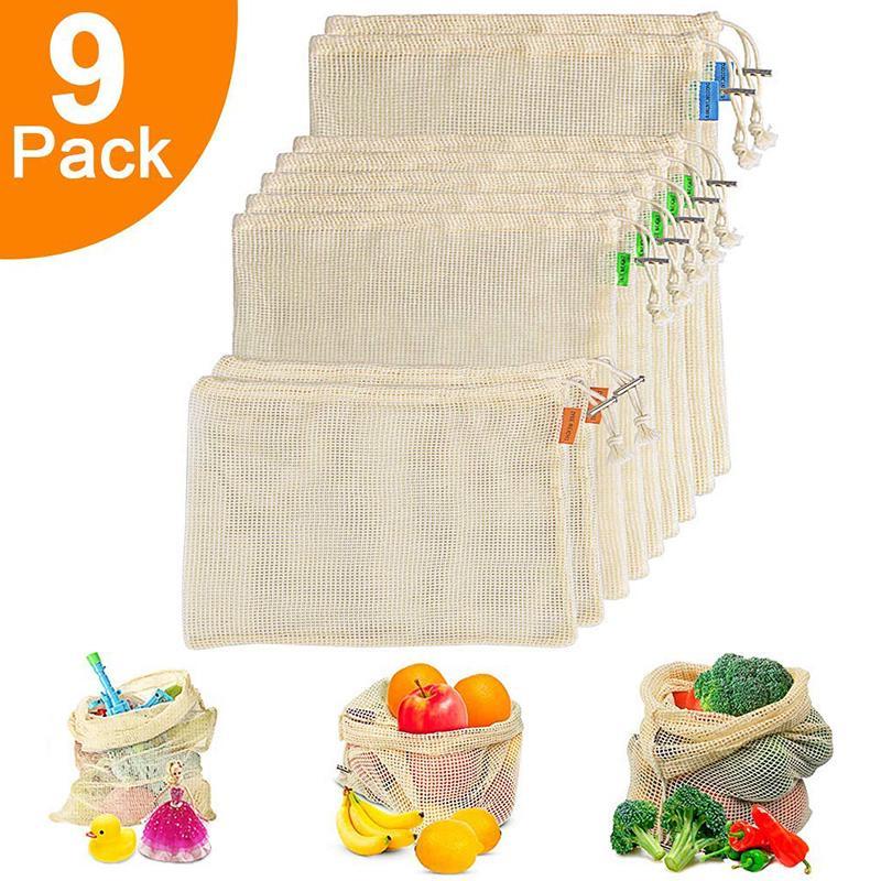 Многоразовые Изготовим сумки из органического хлопка сетки Растительные Фрукты Сумки для машинной стирки Легкий Foladable Сумка для покупок продуктов питания