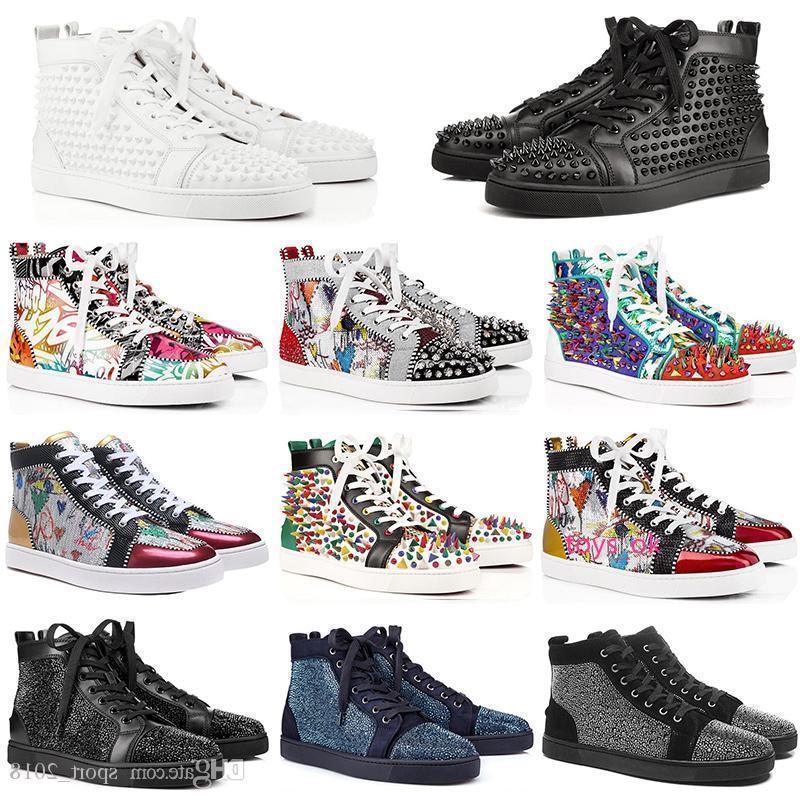 Оптовая продажа 2019 мода роскошный дизайнер для мужчин женщин красные днища обувь шипованные Шипы плоские кроссовки партии натуральная кожа повседневная заклепка обуви