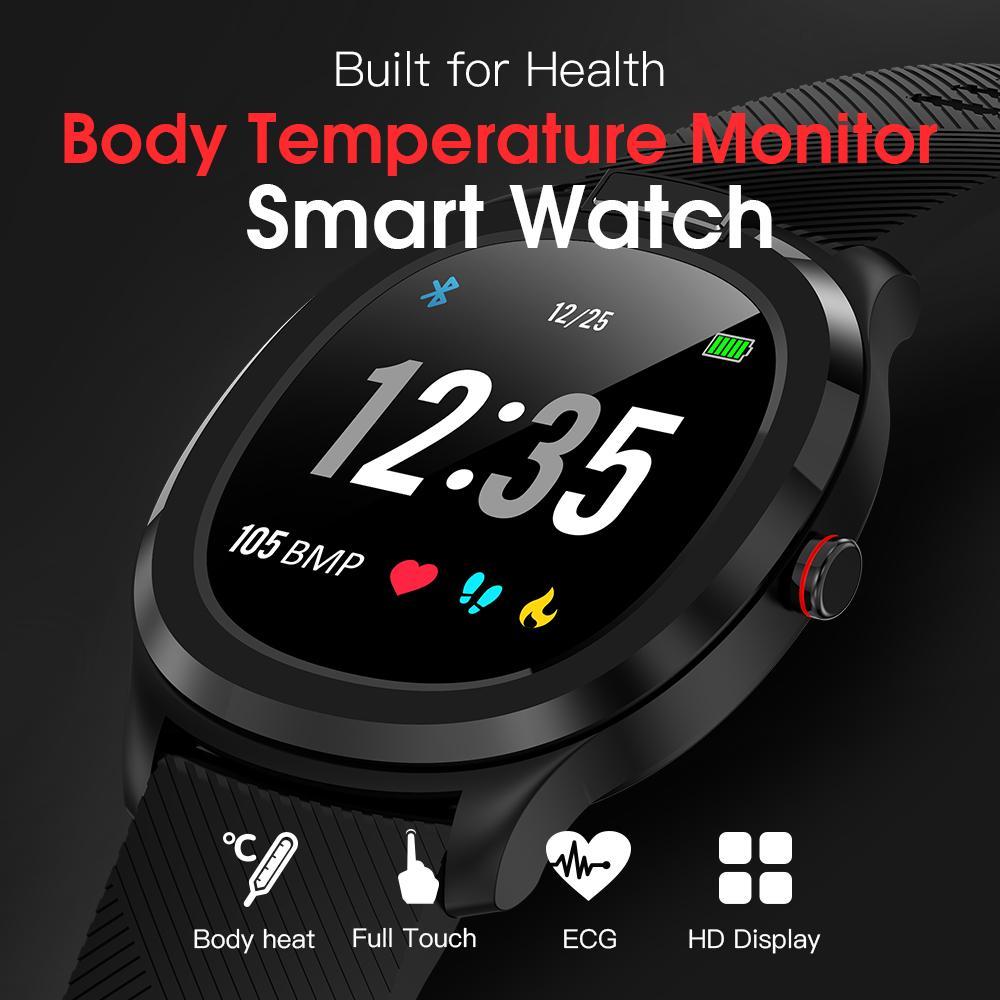 2020 Montre étanche intelligente Hommes Femmes Fitness Wristband fréquence cardiaque pression artérielle Moniteur Smartwatch corps Météo Température