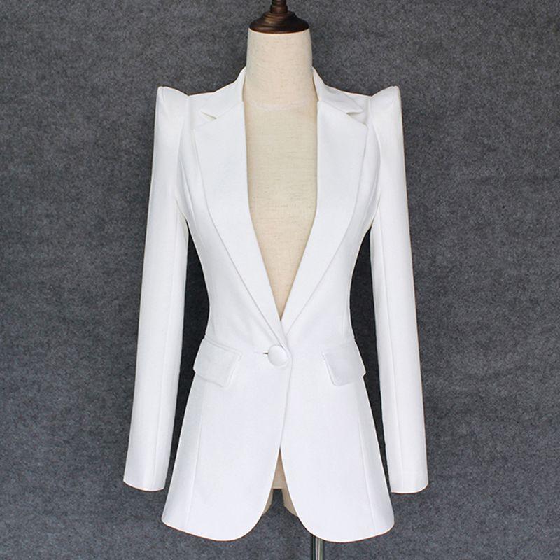 QUALIDADE SUPERIOR 2018 New Elegante Designer encolher de ombros do Blazer Mulheres único botão Jacket Blazer branco