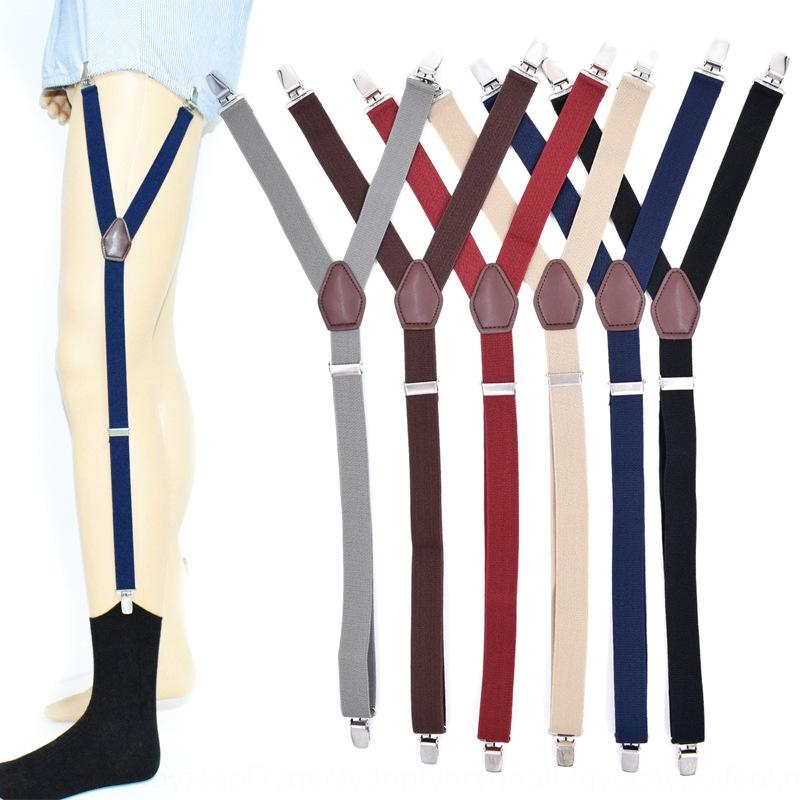 Qrz92 Men's non-slip fixed monochrome garter belt Men's shirt clip non-slip Shirt suspender socks suspender socks fixed clip monochrome gart