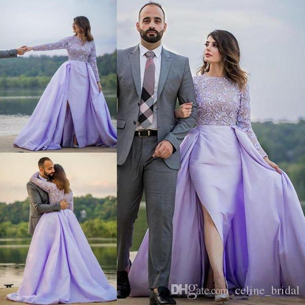 Lavender Sheath Evening Dresses With Overskirts Jewel Neck Lace Satin Long Sleeve High Side Split Dubai Arabic Formal Party Gowns