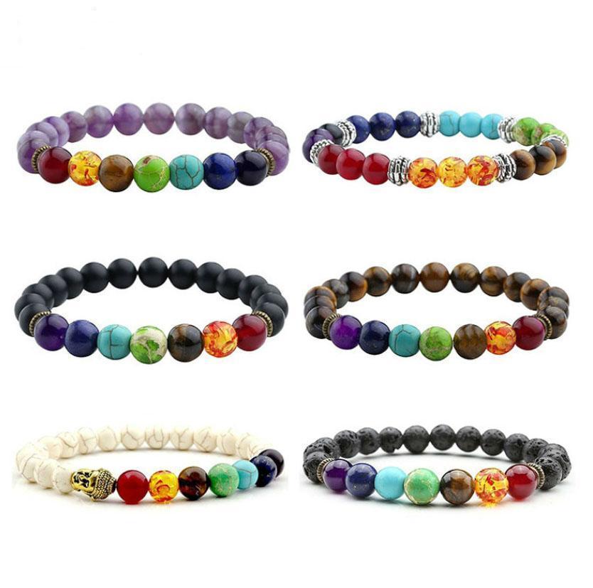 New 10 Chakra Bracelet Oração Balance Men Preto Lava Cura Beads Reiki Buddha Pedra Natural Yoga Bracelet para as Mulheres