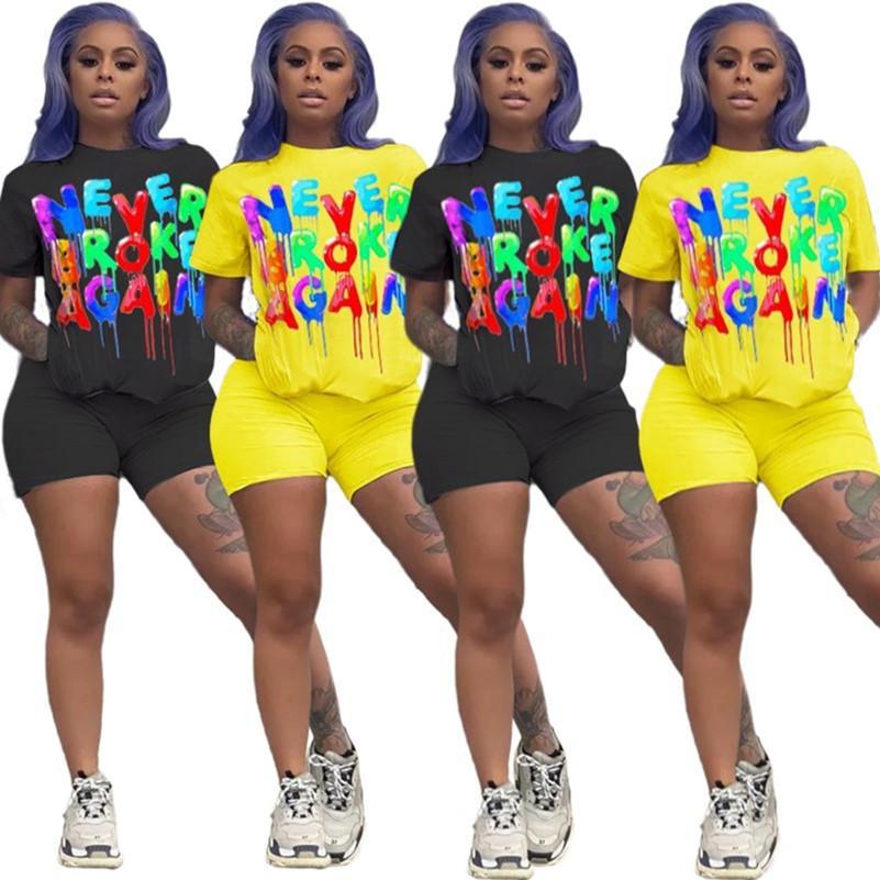 Femmes Survêtement été Ensemble 2 pièces à manches courtes T-shirt + Lettre couleur Shorts Costume Sport Crew Neck Tenues Solide Couleur Jogging Suit 3157