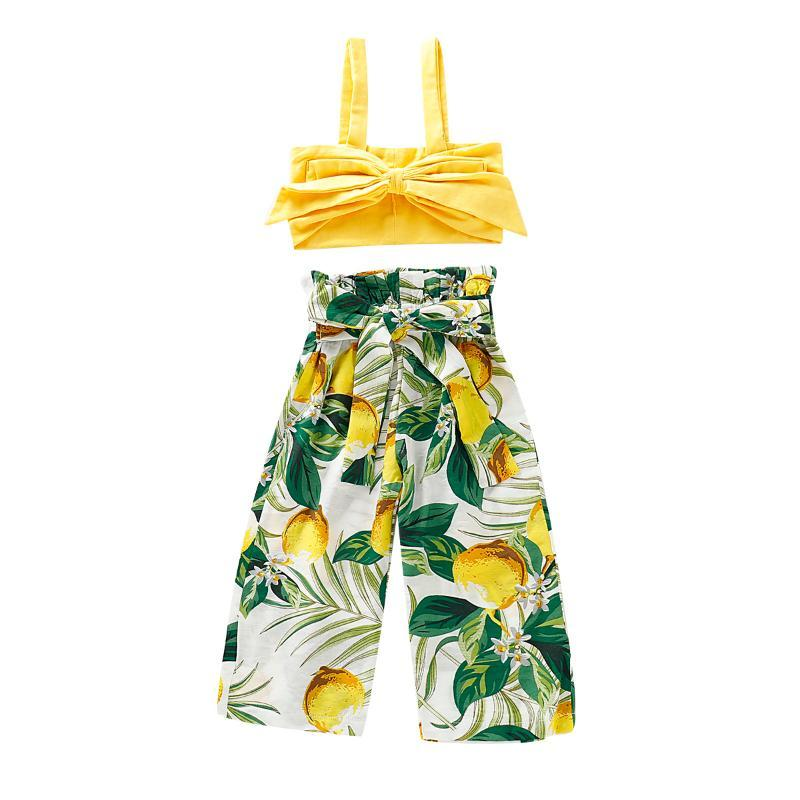2020 Sommer-2pcs Neugeborenes Baby-Kleidung stellt Gelbe T-Shirt Tops + Lange Lemon Pants Outfit Kleinkind-Kind-Kleidung-Klage