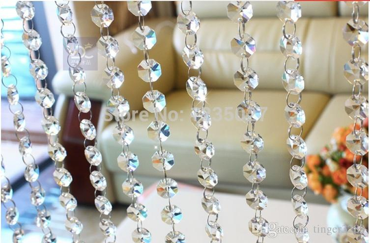 Ücretsiz Kargo 240piece / DIY aydınlatma aksesuarları perde kristal boncuklar şeffaf beyaz sekizgen iki delik 14 mm boncuklu