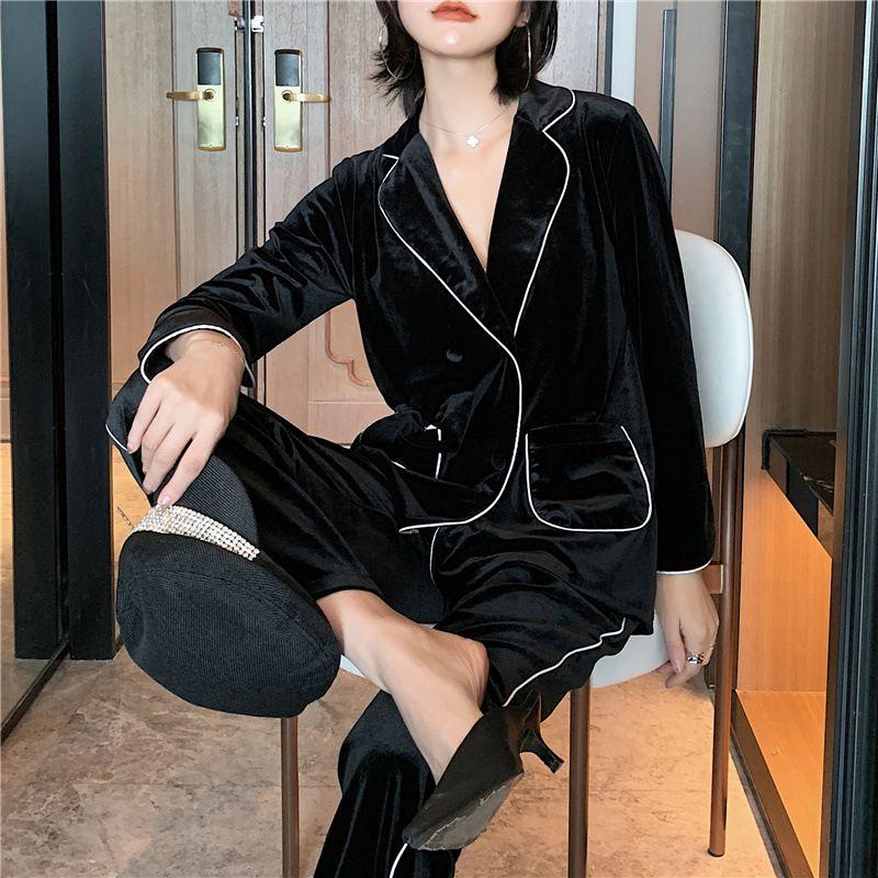 Nero pigiama in velluto oro autunno inverno delle donne vestito a maniche lunghe può essere indossato al di fuori vestiti caldi domestico Camison sexy mujer