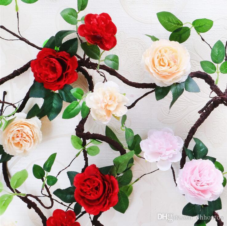 Slap-up Artificial flowers foam peony vine polystyrene foam peony rattan for wedding decorations Withered Tree rattan artificial peony