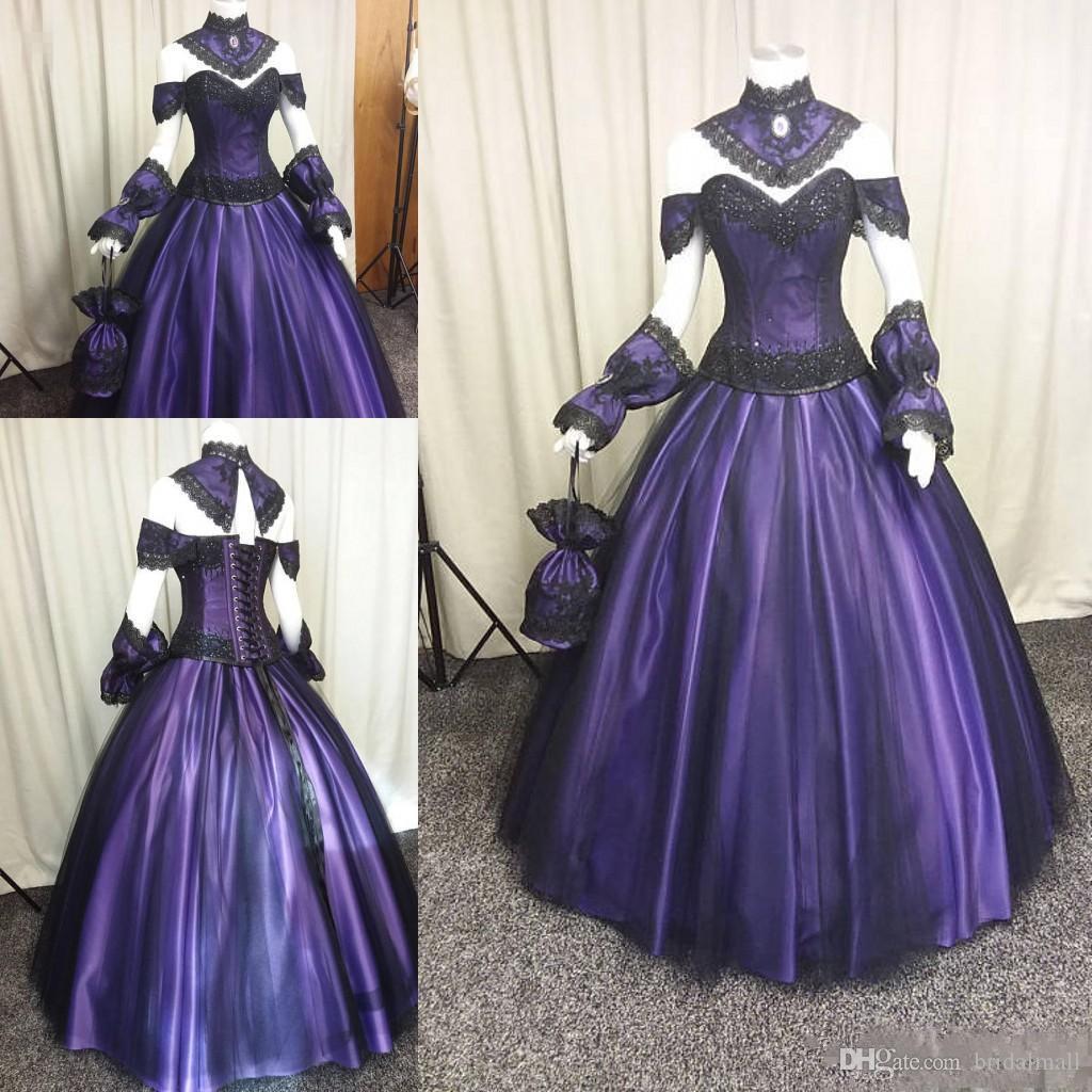 Czarne Fioletowe Gotyckie Suknie Ślubne 2020 Plus Size Steampunk Wiktoriański Halloween Suknia Balowa Suknia Ślubna Wampir Kraj Ogród Suknie Ślubne