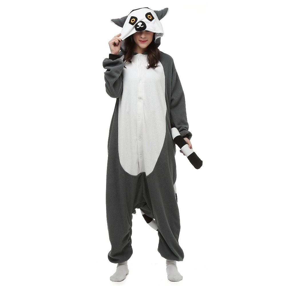 새로운 동물 성인 여우 원숭이 Caja 잠옷 만화 긴 꼬리 원숭이 Kigurumi Onesies 코스프레 의상 Unisex 크리스마스 선물
