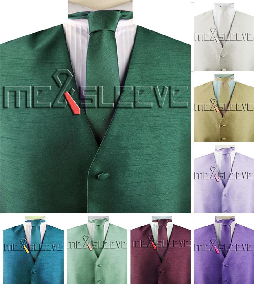 free shipping duppion fabric wedding Waistcoat with necktie set