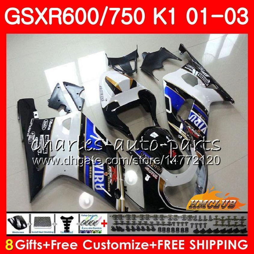 جسم 8Gifts لسوزوكي GSX-R750 GSXR 600 750 أبيض أسود ساخن GSXR600 01 02 03 4HC.42 GSXR-600 K1 GSX R750 GSXR750 2001 2002