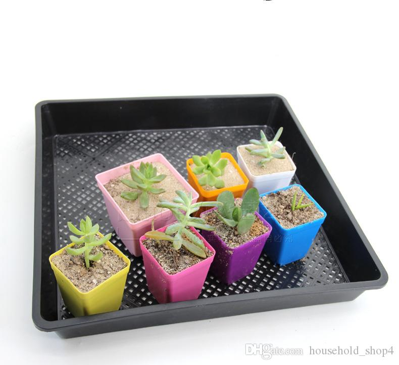 Mini Square Plastic Planters Flower Pot Home Office Decor Planter Colorful With Pots Trays Green Plant Artificial