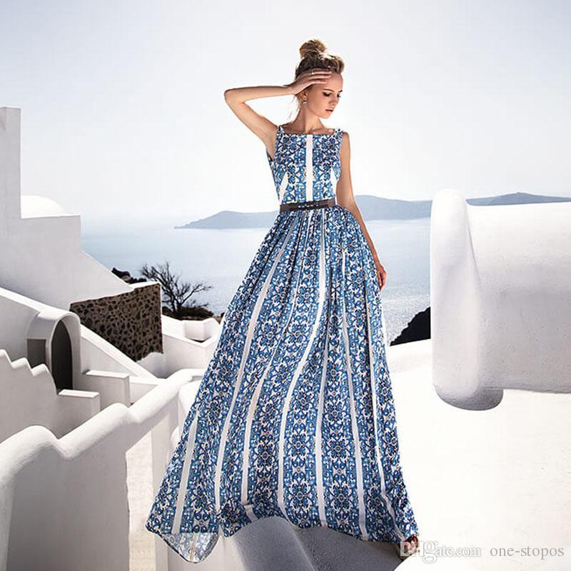 2019 최신 꽃 프린트 파티 드레스 저렴 한 블루 시폰 여성 Maxi Beach 착용 섹시한 여성 빈티지 캐주얼 댄스 파티 홀리데이 드레스 2427