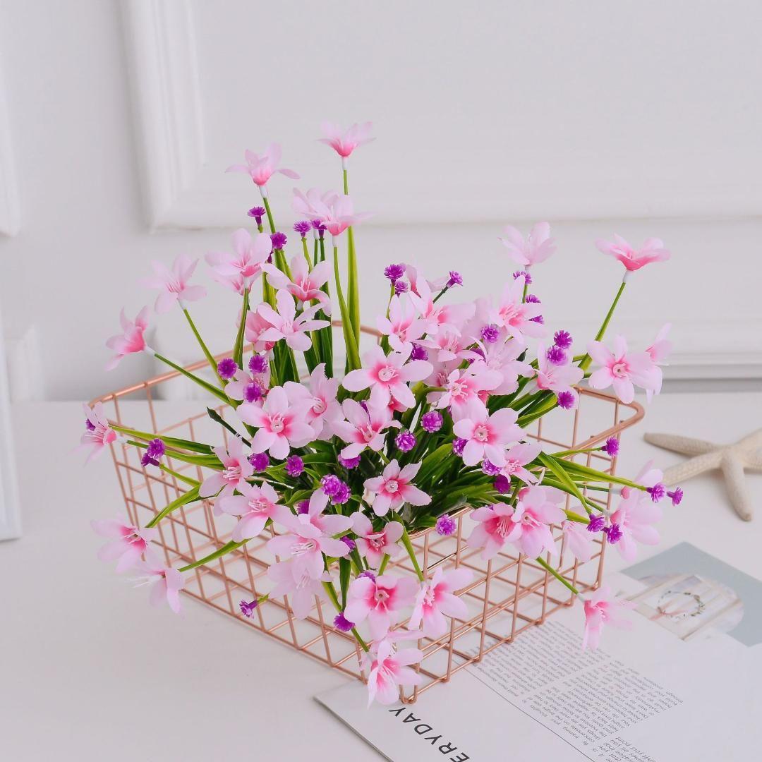 أزهار اصطناعية أزهار حديقة أزهار أوركيد هواء نقية صغيرة أزهار من البلاستيك عشب من الحرير