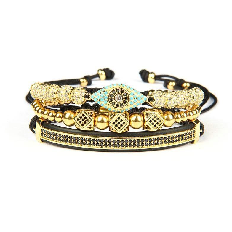 Пара браслет браслеты мужчины и женщины 3шт / набор Корона Браслет глаз макраме браслеты из нержавеющей стали бусины Хамса ручной ювелирные изделия для подарка