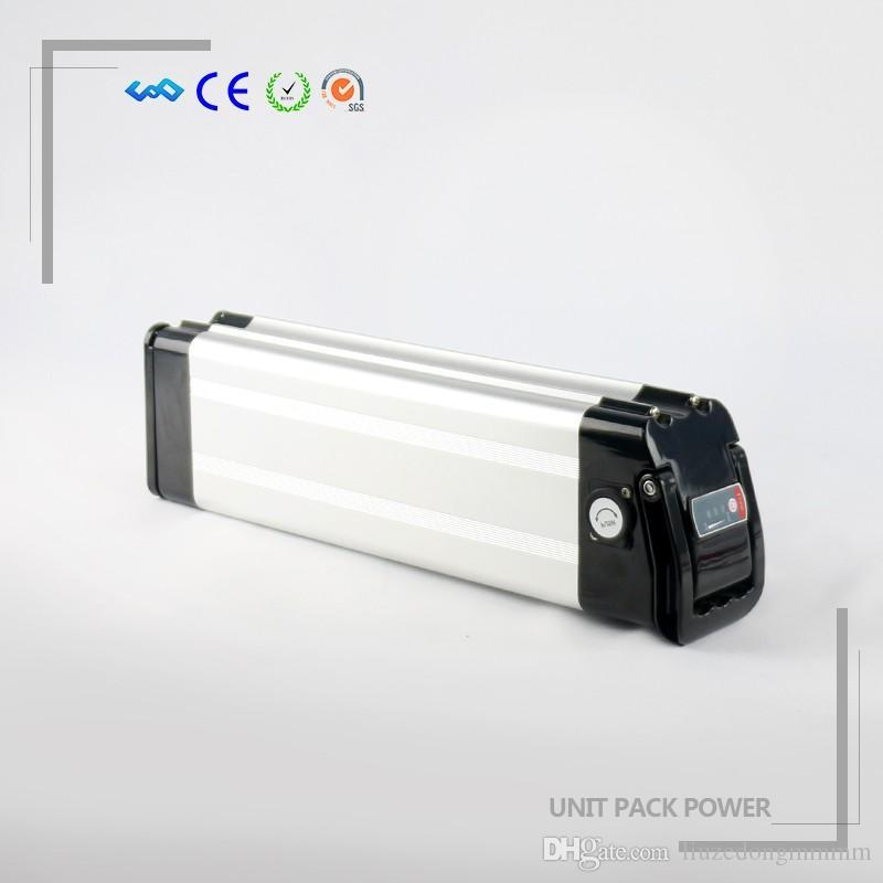 US US Free Tax Sliver fish Batterie rechargeable au lithium-ion pour vélos électriques rechargeable 36V 10,4Ah, y compris le support et le chargeur