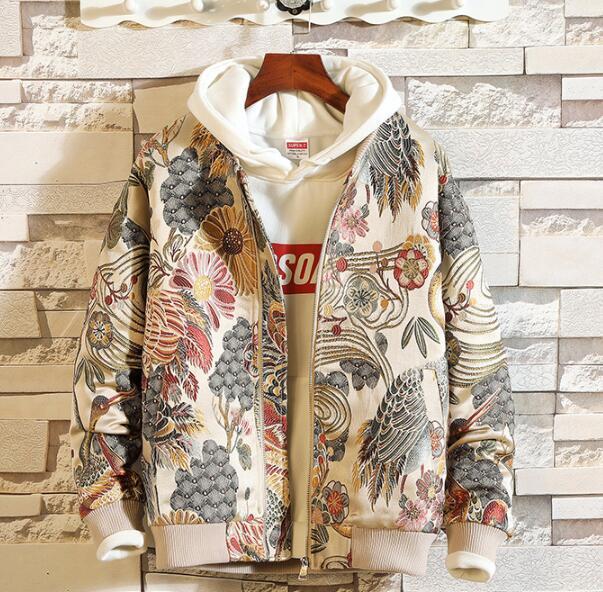 Drop Shipping Cappotto per giacca da uomo ricamo giapponese Hip Hop Streetwear Cappotto per giacca 5XL Bomber 2018 Autunno Nuovo abbigliamento