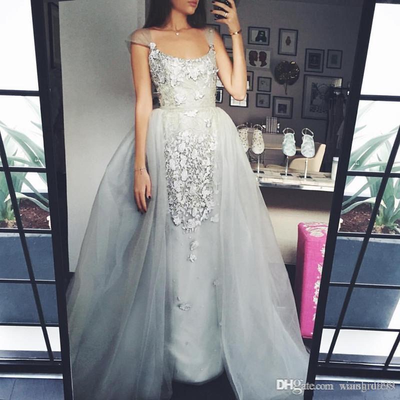 Waishidress шнурок 3D аппликации платья Съемной юбка квадратного вырез Элегантных линии Вечерние платья выполненных на заказ особого случая платья