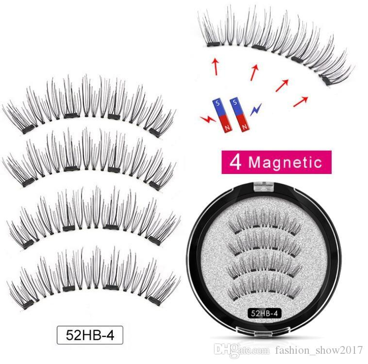 Magnetic eyelashes with 4 magnets handmade 3D magnetic lashes natural false eyelash magnet lash with gift box