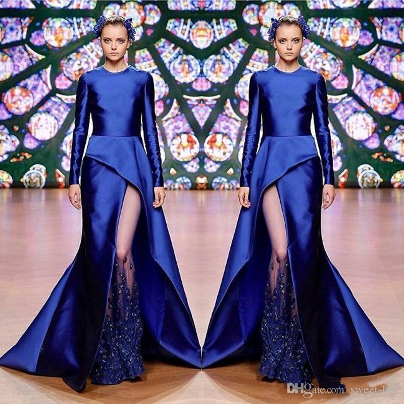 Prom Dress Royal Blue Mermaid rilievo sexy pizzo applique maniche lunghe partito abiti elegante alla moda vestito da sera convenzionale di usura Maxi