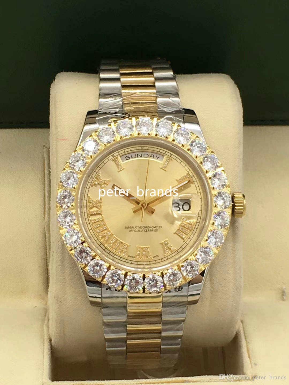 New Style diamante relógios de luxo 6 Estilo Two Tone 43 milímetros Bigger Diamante Bisel assistir set pinos homens automática Moda Watch