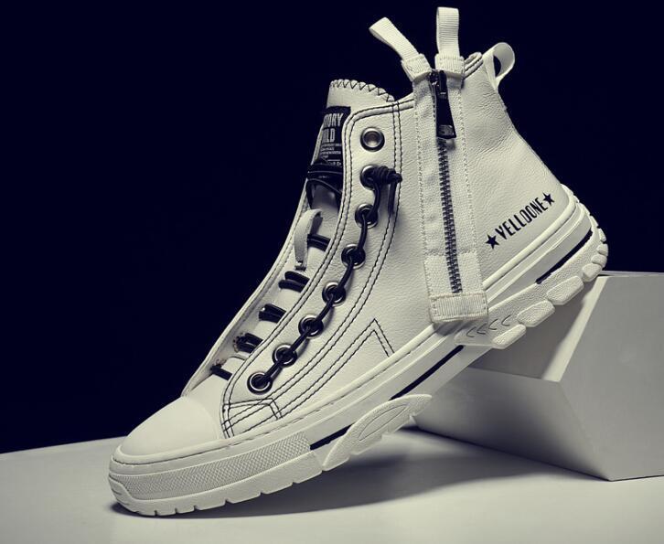 in pelle nera 2020 di alta cima, bianco Marca scarpe nuove modo casuale di scarpe da uomo esclusivi di trasporto libero