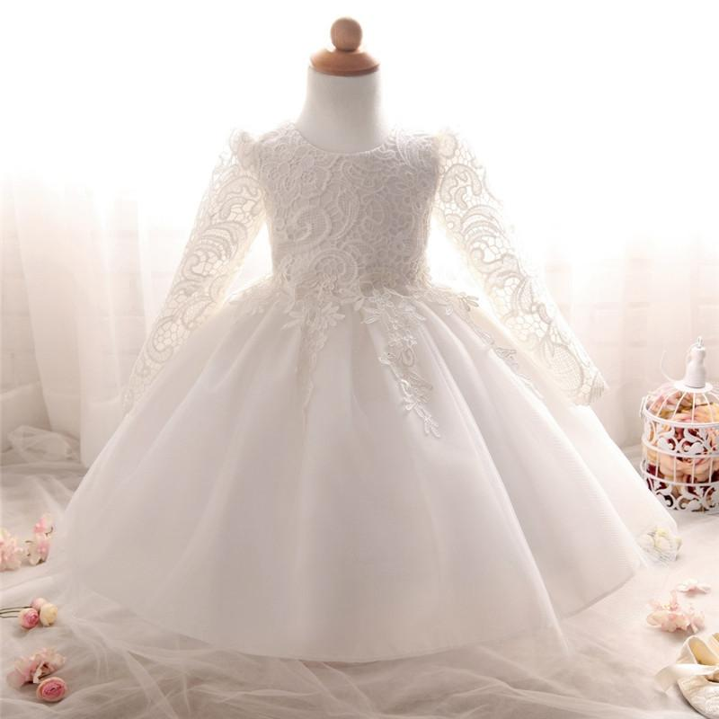 Compre Vestidos De Bautizo Para Niñas 1er Cumpleaños Fiesta De Niña Princesa Arco Decoración Vestido Vestido De Bautizo Para Niña Vestido De Novia A