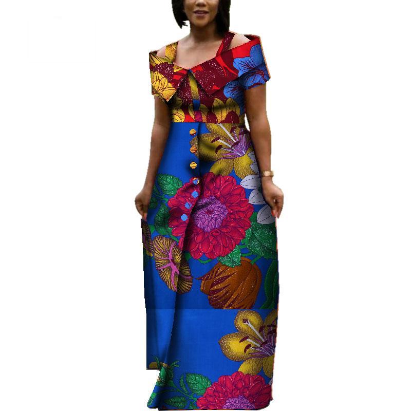 Frete Grátis Africano Imprimir Vestidos Bazin Riche Sling dress África Tradicional Vestuário Dashiki Longo Vestido de Festa WY3725