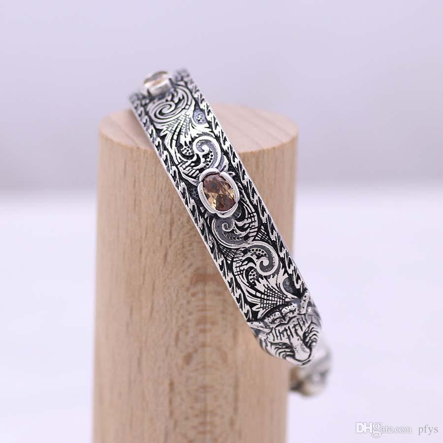 S925 الفضة الاسترليني القديم الرجعية خمر النقش نمط مزدوج النمر رئيس سوار