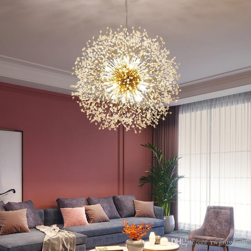 Lámpara nórdica cristal llevó la lámpara de la sala de arte creativo esférico dormitorio de la lámpara caliente romántico bar Spark bola colgante de la lámpara