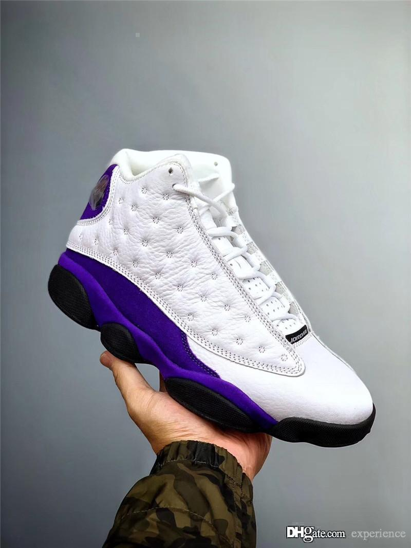 2019 Nuevo Auténtico Air 13 Lakers Rivals Retro White Court Purple Gold Negro Hombres Zapatos de baloncesto Zapatilla deportiva 414571-105 Con caja original
