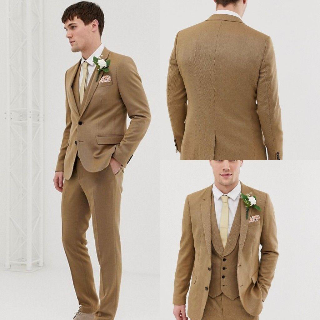 Khaki Groom Wedding Tuxedos Two Button Slim Fit Mens Pants Suits Back Vent Designer Formal Jackets Blazer(Jacket+Vest+Pants)